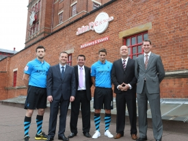 John Pye Auctions main club and shirt sponsorship away kit reveal July 2012 for 2012/13 season modelled by Carl Froch and Chris Cohen with John Pye Auctions Senior Management