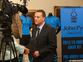 John Pye Auctions MD Adam Pye being interviewed by media at the Nottingham Forest 2012/13 season sponsorship and kit reveal launch