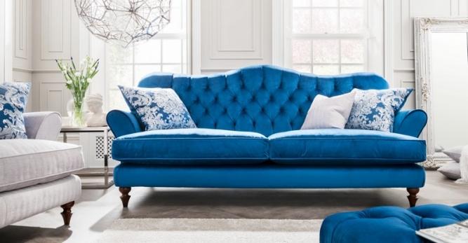 Blue Fabric Chesterfield Sofa Fabb Sofas